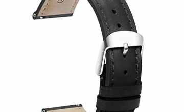 Quick Release Watch Straps 20mm Leather Watch Band Black Replacement Genuine Polished Watch Clasp Buckle Padded Super Soft (18mm 19mm 20mm 22mm)