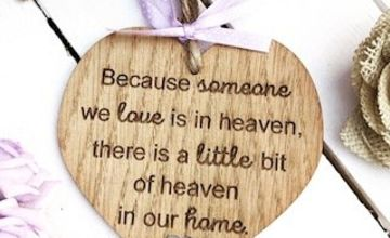 Manta Makes Because someone we love is in heaven, there is a little bit of heaven in our home Wooden Heart Plaque Sign