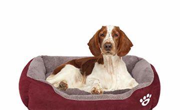 FRISTONE Dog Beds Medium Washable Pet Basket Orthopedic Kennel Bed for Small Large Dogs Deluxe Fleece Cushion Blanket XXL