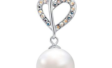 MEGACHIC Women Heart 925 Sterling Silver Mother of Pearl Freshwater Pearl Necklace with Crystals