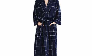 Oksun Mens Dressing Gown Long Robe Plus Size Fleece Winter W