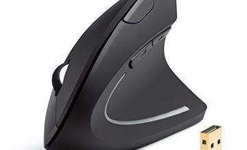 Anker AK-UBA 2.4G Wireless Vertical Ergonomic Optical Mouse, 800 / 1200 /1600 DPI, 5 Buttons for Laptop, Desktop, PC, Macbook - Black