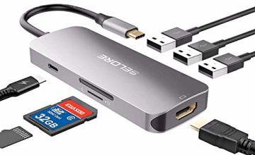 Selore USB C Hub Adapter for Macbook Pro 2019 2018 2017 2016