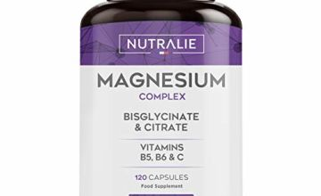 Magnesium Glycinate with Vitamin C, B5 and B6   Magnesium Bisglycinate and Citrate 100% Bioavailable   120 Capsules of 715mg   Nutralie