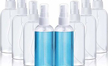 Spray Bottle, Empty Transparent Plastic Spray Bottle, Travel Liquid Kits for Holidays, Business Trips, Makeup, Cleaning, Disinfection, 8 Pieces (100 ML)