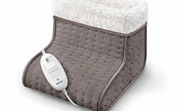 Beurer FW20UK Cosy Foot Warmer - Taupe | Electric Foot Warmer for Men and Women with Cold feet | Perfect Relaxation Gift | Comfy Fleece Lining | Soft and Breathable | Also Suitable for Large feet