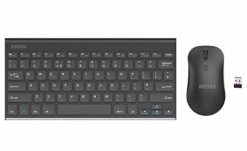 Arteck 2.4G Wireless Keyboard and Mouse Combo QWERTY UK Layout Compact Stainless Full Size Keyboard and Ergonomic Mouse for Computer/Desktop/PC/Laptop and Windows 10/8/7 Build in Rechargeable Battery