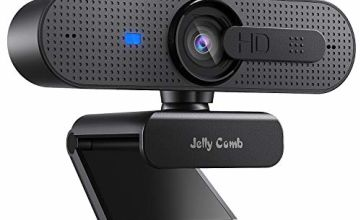 Jelly Comb HD USB Computer Webcam 1080P Web Camera with Autofocus, Privacy Shutter and Dual-Mic for Skype, Video Calling, Conferencing, Recording, Streaming - CM006, Black