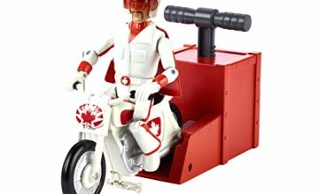 """Disney Pixar Toy Story 4 Stunt Racer Duke Caboom Figure, 5.9"""" Tall, with Motorcycle and Launcher, Race Up to 15 Feet and Perform Stunts"""