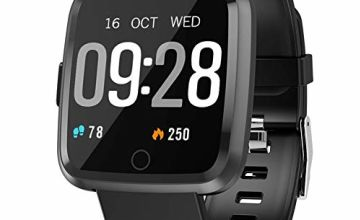 Semaco Smart Watches, Fitness Tracker Watch with Heart Rate Monitor, Sleep Monitor, Calorie Counter, Pedometer Stop Watch for Kids Women Men (Black)