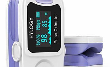 HYLOGY Pulse Oximeter Fingertip Blood Oxygen Saturation Monitor with Fast Readings and LED Screen for Adults and Children with Batteries and Lanyard (Blue)