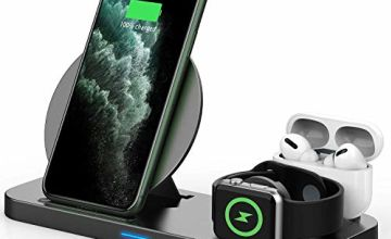 Updated 2020 Version 3 in 1 Wireless Charger, Apple Watch & AirPods Charging Dock Station, Nightstand Mode for iWatch Series 5/4/3/2/1, Fast Charging for iPhone 11/11 Pro Max/XR/XS Max/Xs/X/8/8P