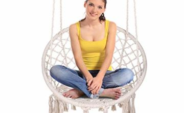 ENKEEO Swing & Hanging Chair with Handmade Knitted Cotton Rope, Romantic Tassels Macrame, Round Hammock Chair for Indoor & Outdoor Home Garden Patio Balcony and Bar,130KG/290lbs Capacity (Warm White)