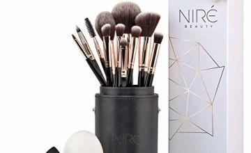 Niré Beauty Artistry Makeup brush set: Vegan Makeup Brushes with Makeup Brush Holder, Niré Beauty Blender and Brush Cleaner