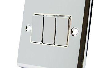 AET CPC3GSWIWC Polished Chrome Classical White Insert Metal Rocker Switch-10 Amp Triple 3 Gang 2 Way Light Switch