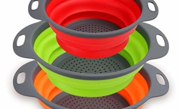 Collapsible Colander Set of 3 - Silicone Kitchen Strainers with Plastic Handles - 4 Quart & 2 Quart Sink Colander for Draining Pasta, Vegetables, Fruits (Green, Orange, Red)