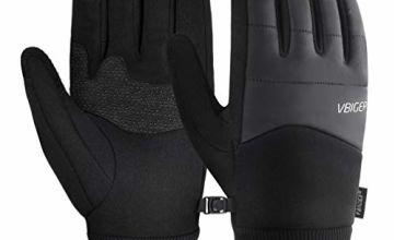 VBIGER Unisex Cycling Gloves Running Gloves Touch Screen Anti-slip Waterproof Sports Winter Gloves, M, Black