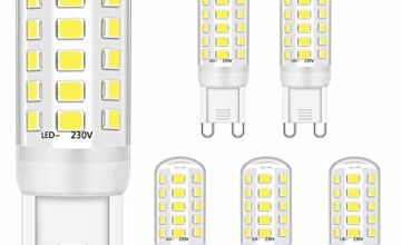 G9 LED Bulb 5W Equivalent to 28W 33W 40W Halogen Bulbs, G9 Led Bulb Cool White 6000K, Led G9 Bulbs, G9 Socket Led Lamp, No Flicker, Non Dimmable, 420LM, AC 220-240V,5 Pack