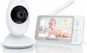 Baby Monitor with Camera 4.3 inch LCD Screen Video Baby Monitor Two-Way Communication Smart Night Vision Voice Control/Auto Wake up Function High Capacity Battery