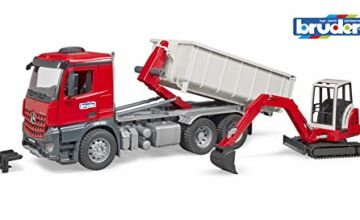 Bruder 3624 MB Arocs Truck with Roll-Off Container and Schaeff Mini Excavator, Multi