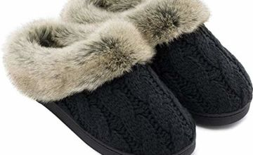 Women's Soft Yarn Cable Knit Slippers Memory Foam Anti-Skid Sole House Shoes w/Faux Fur Collar, Indoor & Outdoor, Dark Gray, Medium / 5-6 UK / 7-8 B(M) US