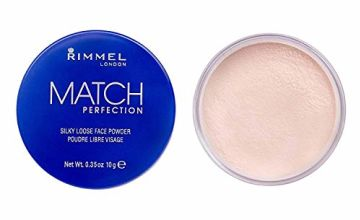 Rimmel London Match Perfection Silky Loose Face Powder, Lightweight Formula with Instant Retouch for Most Skin Types, 001 Transparent, 10 g