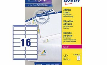 Avery Self Adhesive Address Mailing Labels, Laser Printers,16 Labels Per A4 sheet, 640 labels, UltraGrip (L7162)