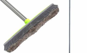 Push Broom Long Handle Rubber Bristles Sweeper Squeegee Edge 59 inches Scratch Free Bristle Broom for Pet Cat Dog Hair Carpet Hardwood Tile Windows Clean Water Resistant