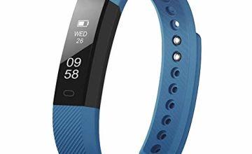 LINCHM Smart Watch Fitness Tracker Pedometer Wearable Activity Tracker Calori Step Sleep Tracker Slim Wristband for men women kids (NEW Blue)