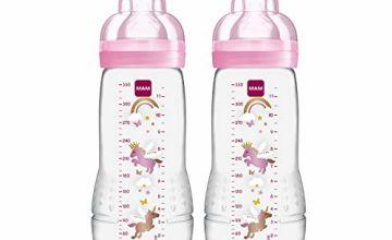 Mam Baby Bottle 330 ml 2-Pack  (Colour chosen at Random)