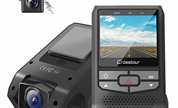 Crosstour Dash Cam Front and Rear Dual FHD 1080P Mini In Car Camera with Parking Monitoring,G-sensor,WDR,Night Vision, Motion Detection, Loop Recording, Screen Rotation (CR600)