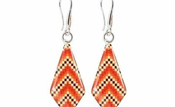Modern Geometric Orange Earrings Special Gifts for Women; Street Style Amber Dangle Accessories for Anniversary; Design Shape -1.2x0.5 inch -3x1.3cm