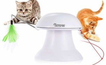 DADYPET Cat Laser Toy, Cat Interactive Toys, 2 in 1 Auto Rotating Light Chaser Toy And Interactive Feather Toy, Pet Entertainment Intelligence Fun With USB Charging Cable For Cats And Dogs