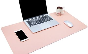 Dual-Sided Multifunctional Desk Pad, Waterproof Desk Blotter Protector, Leather Large Desk Wrting Mat Mouse Pad (Pink, 90 x 43 cm)
