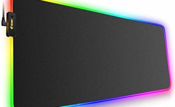 RGB Gaming Mouse Mat Pad Large Thick(800×300×4mm) Hcman XXXL Extended Led Mousepad with Non-Slip Rubber Base, Soft Computer Keyboard Mice Mat for Macbook, PC, Laptop, Desk - Black