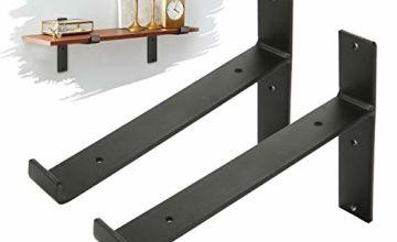 king do way Shelf Brackets, Industrial Shelf Angle Braces Brackets for Rustic Shelf, Scaffold Board, Wall Mounted Vintage Shelving 2Pcs (T Lip)