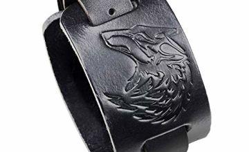 Hsumonre Punk Wide Leather Bracelet Wolf Wristbands for Men