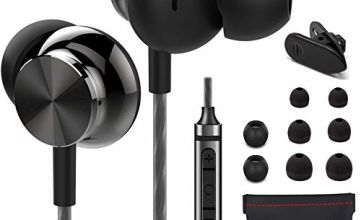 Betron BS10 Noise Isolating Earphones, In Ear Headphones with Microphone and Volume Control, Powerful Bass Sound includes 3 Different Sized Pairs of Ergonomic Earbuds and Carry Bag