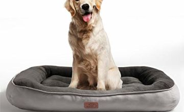 Bedsure Plush Dog Bed S/M/L/XL- Soft Machine Washable Pet Bolster Bed for Large Dogs Up to 45 KG