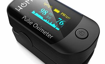 Pulse Oximeter Fingertip, HOMIEE Blood Oxygen Saturation Monitor SpO2 Oximeter with Alarm, Auto-Sleep Function, OLED Display, Silicone Cover, Carrying Bag, Batteries & Lanyard (Black)