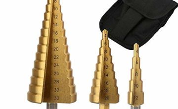 3PCS HSS Step Bits, High Speed Steel Step Drill Bits Set - (4-12mm, 4-20mm and 4-32 mm) Cone Drill Bits Hole Cutter for Wood, Stainless Steel, Sheet Metal by SS SHOVAN