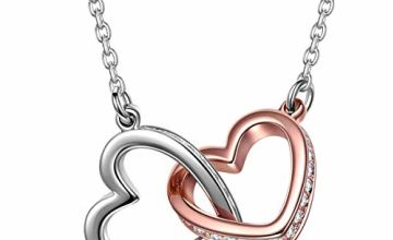 Kami Idea Christmäs Gifts for Her Women Necklace Heart Necklace Chain Crystal Necklace Rose Gold Gifts for Women Birthday Anniversary Gifts for Her Gifts for Girls Gifts for Mum Jewellery for Women