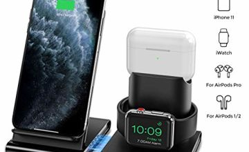 Seneo 3 in 1 Wireless Charger, Apple Watch and AirPods 2 Charging Station,Magnetic Design,Nightstand Mode for iWatch Series 5/4/3/2, 7.5W Fast Charging for iPhone 11/11 Pro Max/XR/XS Max/Xs/X/8/8P