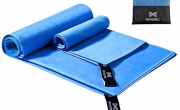OMORC 【2 Pack Microfiber Sports Towel, Gym Towel Set, Camping Towel, Fast Drying Towel, Super Absorbent Lightweight for Camping, Hiking, Gym, Beach, Yoga, Includes 2 Sizes + Carrying Bag & Clip