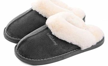 Womens Slipper Memory Foam Fluffy Slip-on House Suede Fur Lined/Anti-Skid Sole, Indoor & Outdoor