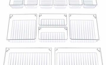 InnoGear Set of 12 Desk Drawer Organiser Trays with 3-Size Clear Plastic Storage Boxes Divider Make-up Organiser for Kitchen Bedroom Office