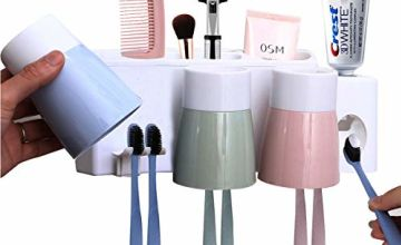 MEIJUBOL Toothbrush Holder Wall Mounted Storage Set with Automatic Toothpaste Squeezer 3 Cups and 6 Slots for Family Kid Bathroom Shower Marble