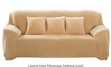 Hengweiuk Thick Sofa Covers, Premium Pure Color Sofa Protector 1/2/3/4 Seater Velvet Sofa Slipcover Stretch Easy Fit Stylish Furniture Cover Pet Dog Protector