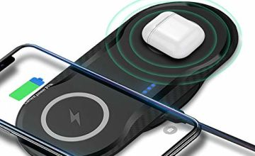 ADDANY Dual Wireless Charger Pad 2 IN 1 Qi Charging Station 10W/7.5W Fast Induction Charger for iPhone XS Max/XS/XR/X/8 Plus Samsung Galaxy S10/S10+/Note 9/S9/S9+/S8 and all Qi-enabled phones