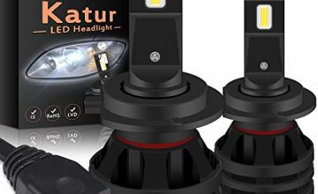 KATUR H7 Led Headlight Bulbs Mini Design Upgraded CREE Chips Extremely Bright 12000 Lumens Waterproof All-in-One LED Headlight Conversion Kit 55W 6500K Xenon White-2 Years Waranty